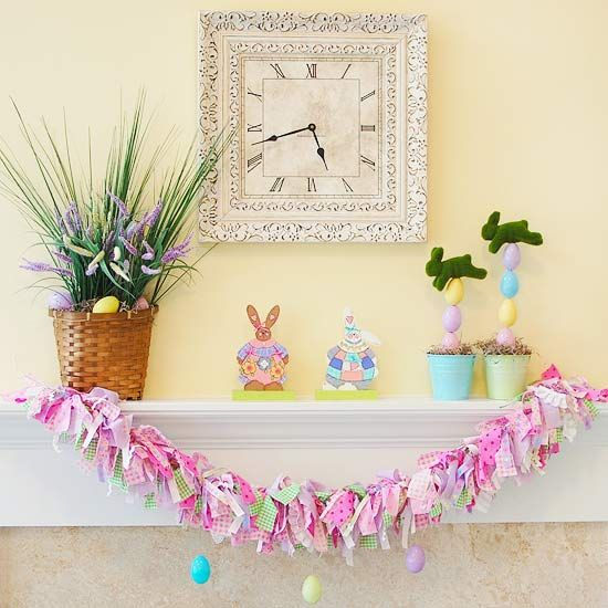 Set up your Easter mantel display with a fun pastel garland made from fabric strips. A mix of ribbon, fringe, and fabric are tied to a single ribbon to make the garland; add small plastic Easter eggs hanging from fishing wire to finish the decoration.