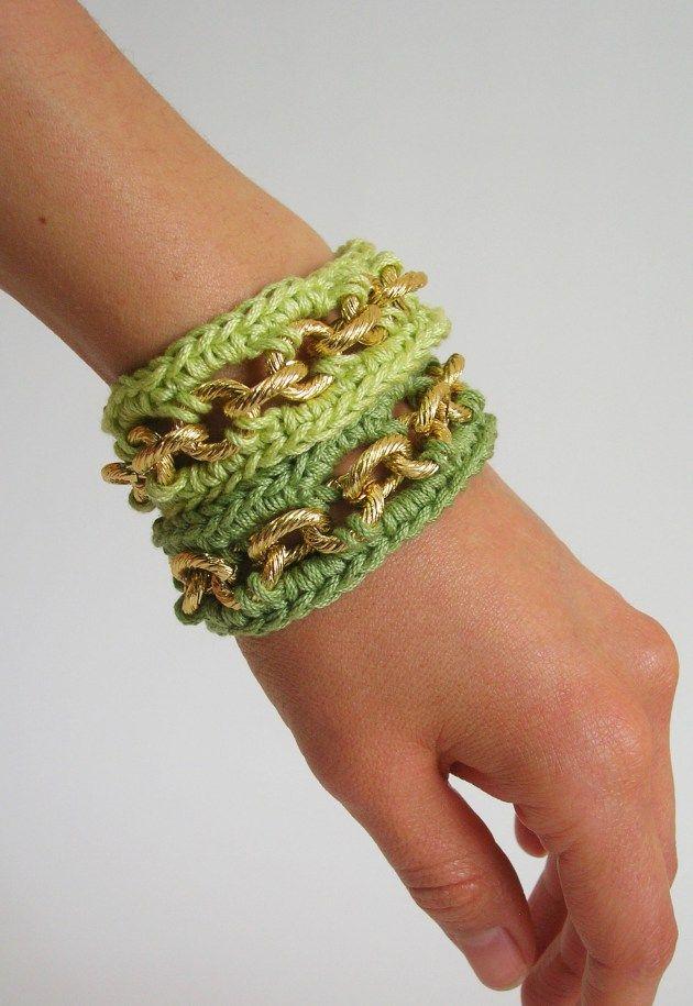 Crochet bracelets with chain, photo tutorial, written pattern/ Pulseras a ganchillo con cadena, foto tutorial, instrucciones escritas ✿⊱╮Teresa Restegui http://www.pinterest.com/teretegui/✿⊱╮