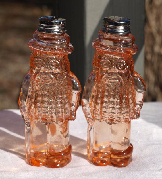 Vintage Mr Peanut Pink Glass Salt Pepper Shakers
