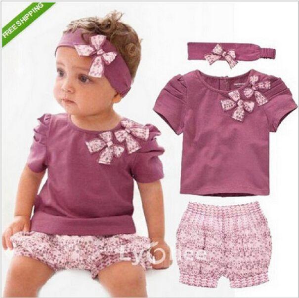 $7.48 (Buy here: https://alitems.com/g/1e8d114494ebda23ff8b16525dc3e8/?i=5&ulp=https%3A%2F%2Fwww.aliexpress.com%2Fitem%2Fheart-shaped-print-bow-cute-2pcs-cloth-set-kids-newborn-summer-clothing-set-purple-girls-cotton%2F32700005265.html ) china clothing factories catering girl summer clothing set purple girls kerst baby kleding tops+short+headband purple 3pcs  for just $7.48