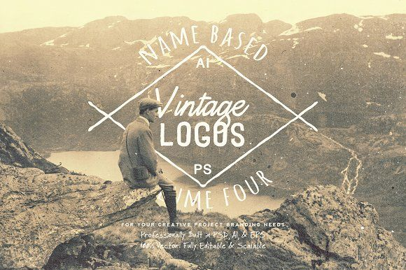 13 Name Based Vintage Logos Volume 4 by Yusof Mining on @creativemarket