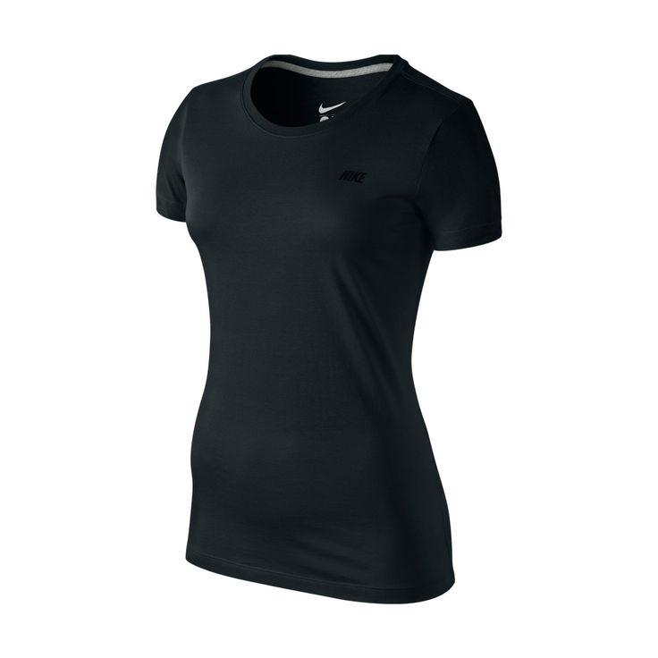 Μαύρο μονόχρωμο, γυναικείο T-Shirt, φτιαγμένο με τη γνωστή τεχνολογία της NIKE Dri- Fit, για την απορρόφηση του ιδρώτα. Έχει αθλητικό κόψιμο και λαιμόκοψη. Κατάλληλο για άθληση, αλλά και για οποιαδήποτε καθημερινή δραστηριότητα.