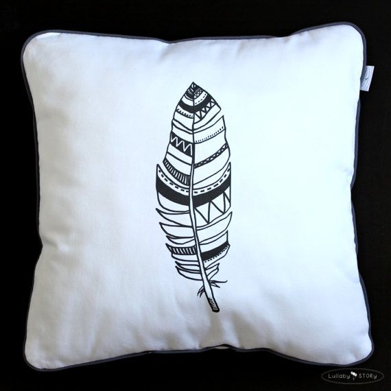 Feather Cushion-Decorative Pillow-Children by LullabySTORY on Etsy