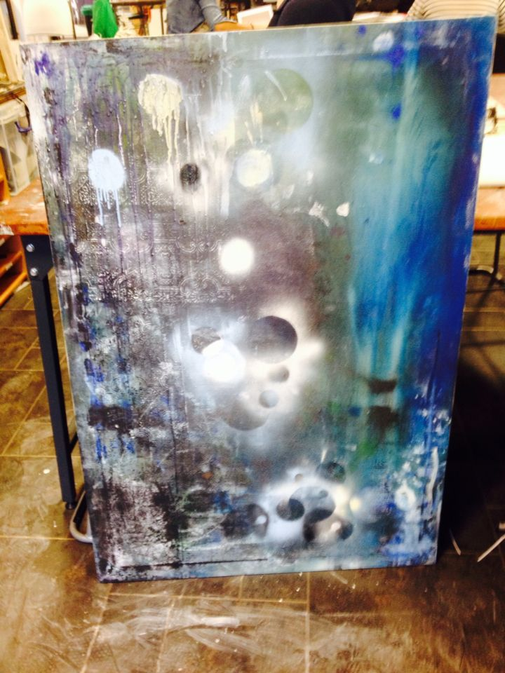 'Live amongst the galaxies'- abstract painting created for the principal of rochdale sixth form college