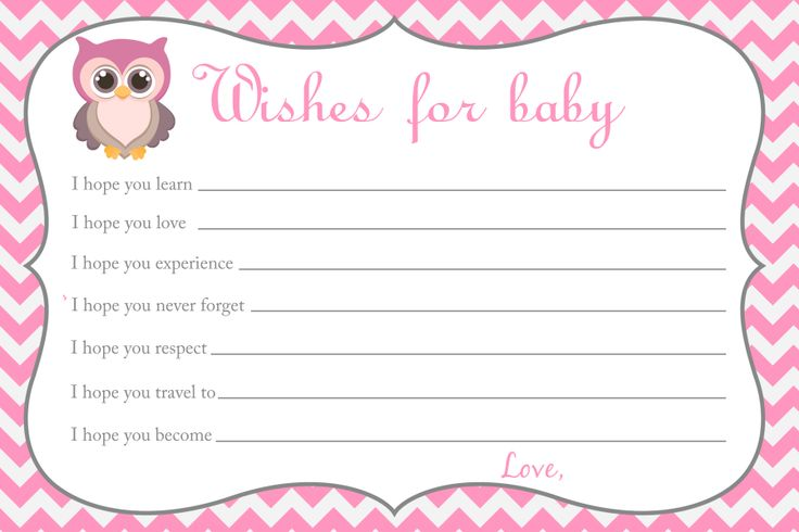 Baby shower wishes for baby card owl baby shower for Wishes for baby printable template