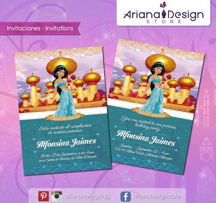#printable #invitation #disneyprincess #princessjasmine #princesajasmin #arianadesignstore #invitacion #fiestainfantil #cumpleaños #aladdin #princesadisney #jasmine