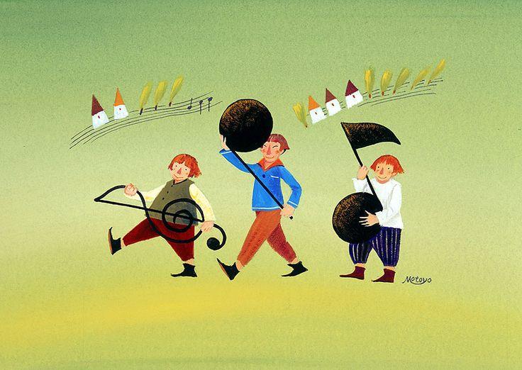 メルヘンイラスト ト音記号と音符を抱えて歩く3人の子供
