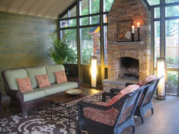 Screened porch fireplace for the home pinterest Screened in porch with fireplace