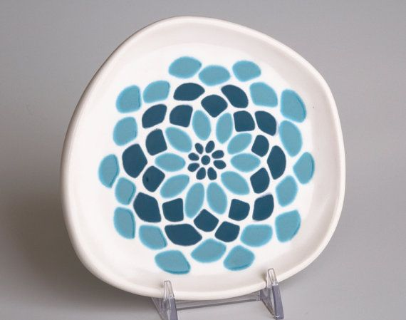 ceramic plate - abstract dahlia flower in dark teal and ocean blue - white plate via & 32 best Cool hipster plates images on Pinterest | Dishes Dinnerware ...