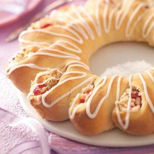 Cherry-Cheese Tea Ring Recipe -Cherries and almonds make the perfect pair in this delightful tea ring. It's great for breakfast or brunch, and the cream cheese layer makes it extra-indulgent.—Marie Rizzio, Interlochen, Michigan