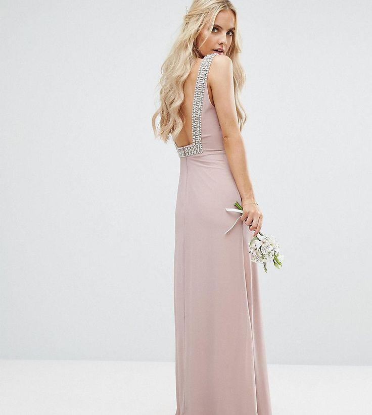 TFNC Petite Wedding High Neck Maxi Dress With Embellished Low Back - P