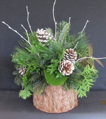 xmas arrangement in birch | ... , Centerpieces, Candle Rings, Swags, Christmas Ball, Grennery Baskets