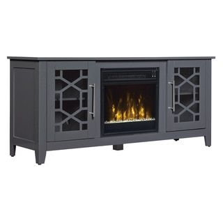 Clarion TV Stand for TVs up to 60 inches with Electric Fireplace - Cool Gray | Overstock.com Shopping - The Best Deals on Indoor Fireplaces