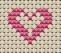 Little heart within a heart cross stitch pattern
