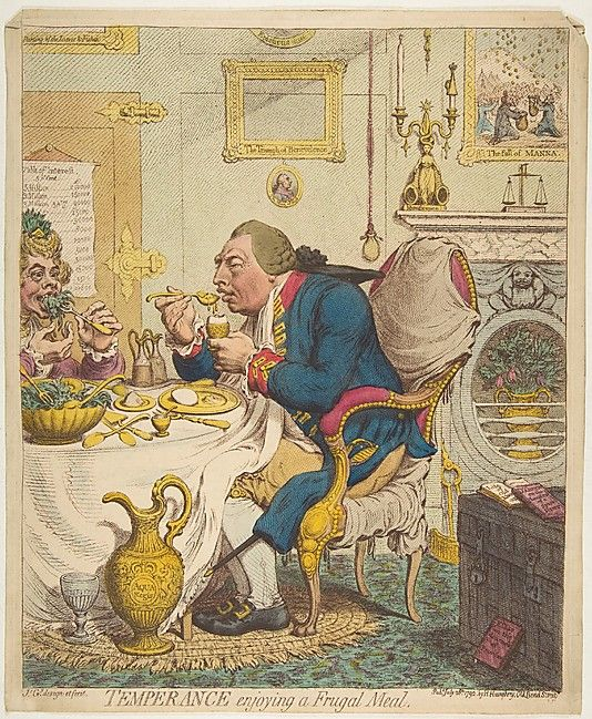 James Gillray (British, 1756–1815). Temperance Enjoying a Frugal Meal, July 28, 1792. The Metropolitan Museum of Art, New York. Gift of Adele S. Gollin, 1976 (1976.602.29)