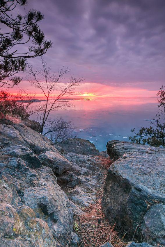Late winter sunrise at Presque Isle Park in Marquette, MI