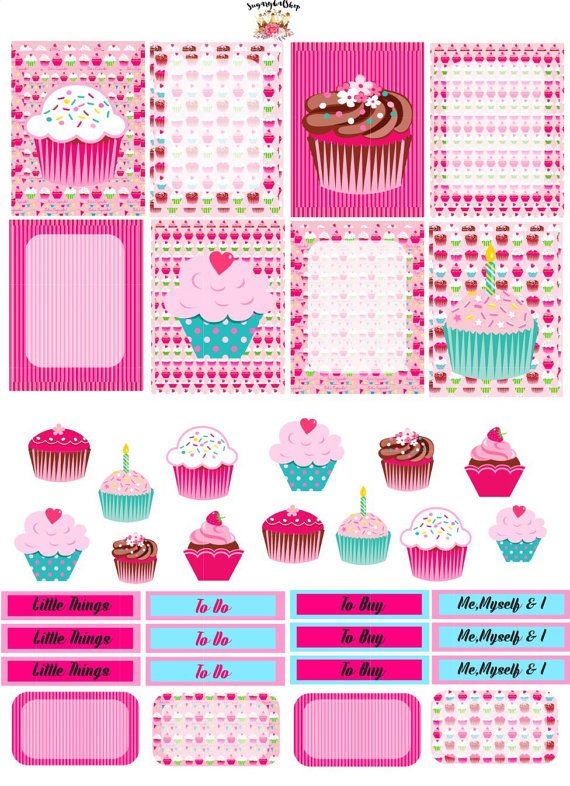 Sweet Cupcakes Planner Sticker Set Sugar by SugaryGaLShop on Etsy
