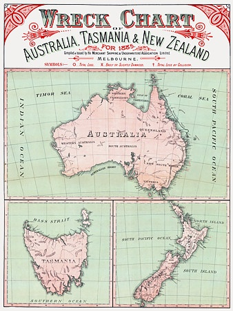 Maritime Wreck Chart for Australia and New Zealand. 1885  http://www.vintagevenus.com.au/vintage/reprints/info/TV622.htm • big things Australia tour