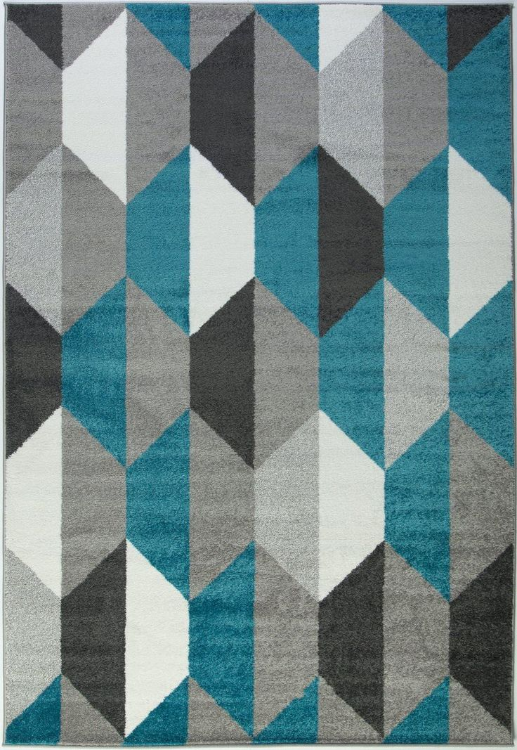 Turquoise Gray Honeycomb Area Rug #geometric #rugs #carpet #flooring #decor #midcentury #modern #stylish #homedecor