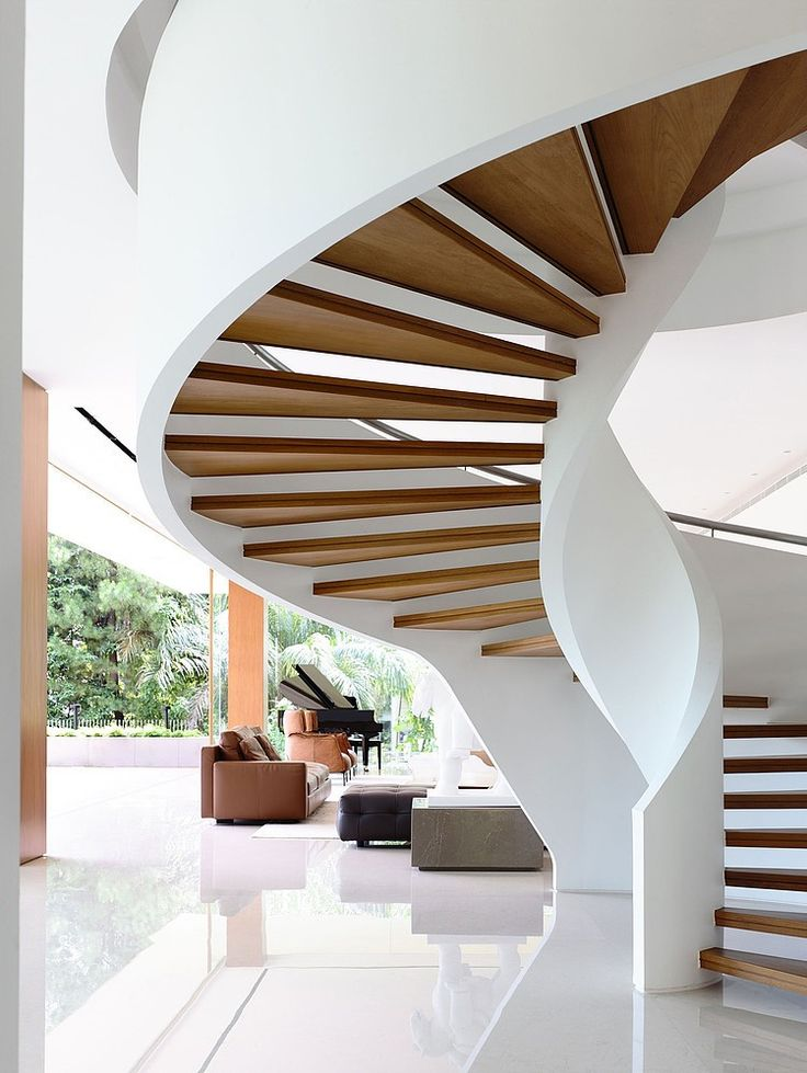 This amazing single family residence situated in Singapore was designed in 2013 by ONG&ONG Pte Ltd. #Architects > windy staircase
