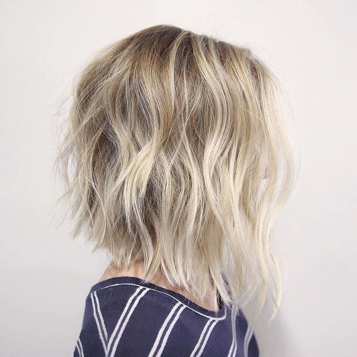 blonde messy long bob