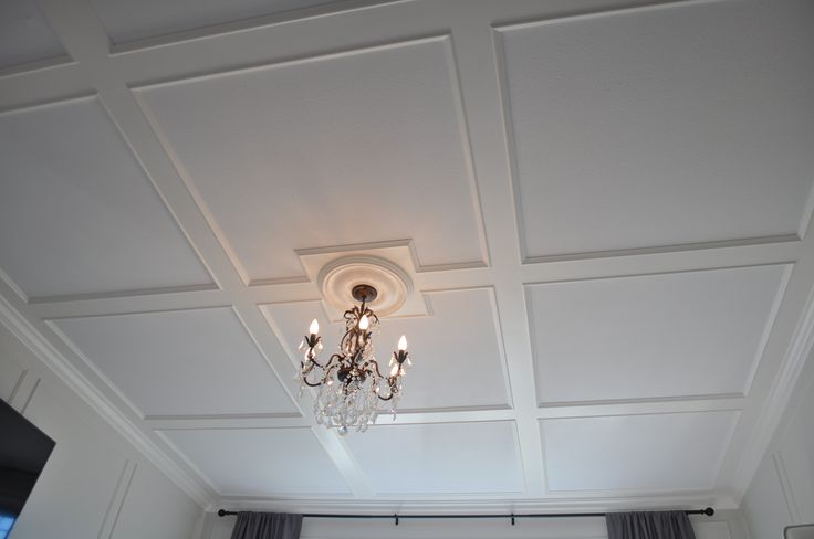 Master Bedroom after. Low profile coffered ceiling installed on 8 ft ceilings.
