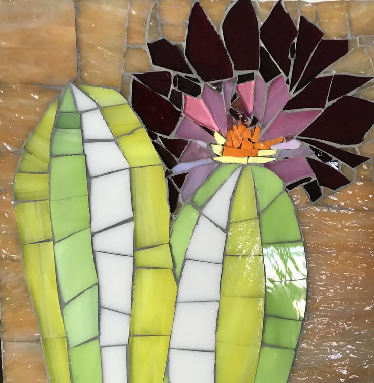 """Cactus Bloom"" 2018 onesmallpieceMosaics.etsy.com/ by Rosemary Pulvirenti"