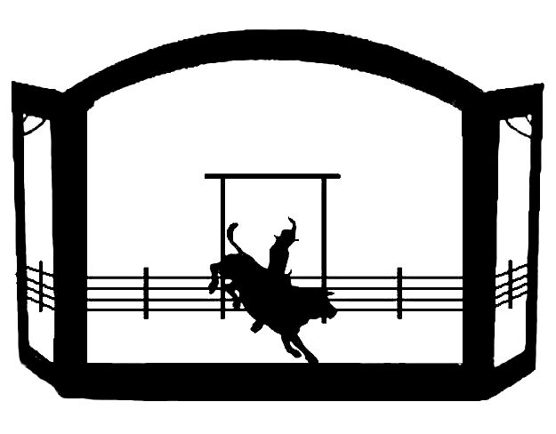 Bull Rider Rodeo Scenic Western Fireplace Screen exclusive design of heavy recycled steel american made western decor fire screen