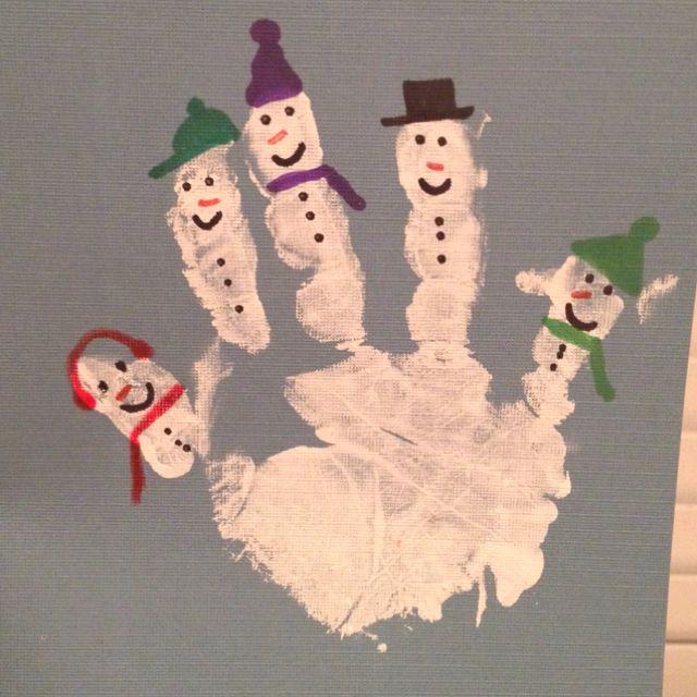 Snowman hand print for Christmas card.