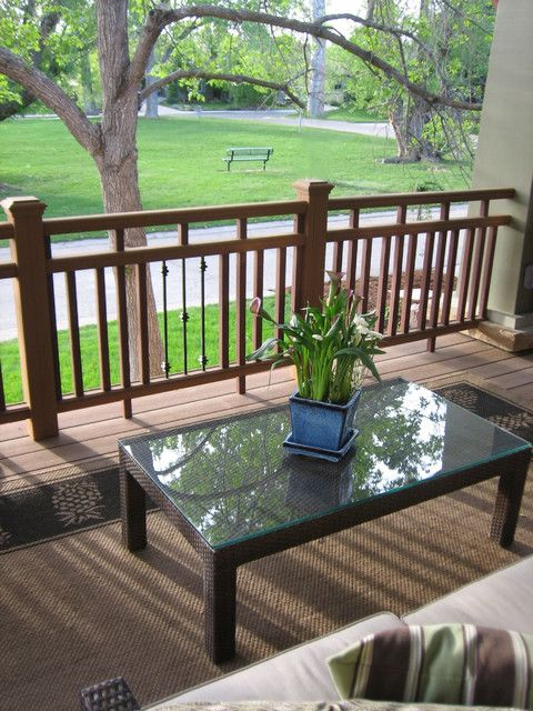 2x2 and Stock Metal Baluster Porch Handrail - Deck Railing ...