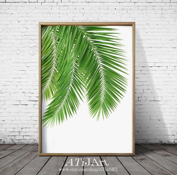 Tropical Print Botanical Print Palm Leaf Print Green by ATiJArt
