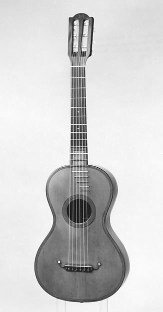 Guitar (c.1835) by René François Lacôte (French, 1785–1855 Paris), the most well-known French guitar maker during the early 19c. His guitars were endorsed by several famous performers including Fernando Sor, Ferdinando Carulli, Zani de Ferranti, and others. A 6-single course guitar with ebony fingerboard and 17 T-frets. The tuners housed within the headstock is so elegant. The guitar bears a label with the signature of Fernando Sor. This was once owned and used by 21c guitarist Julian Bream.