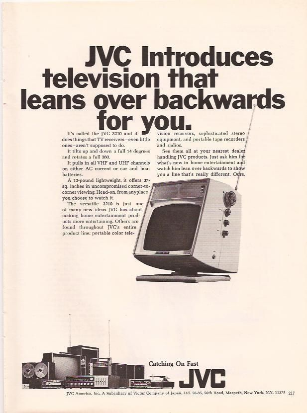 1969 JVC Television that leans over backwards for you Original Print magazine Ad TV pinup
