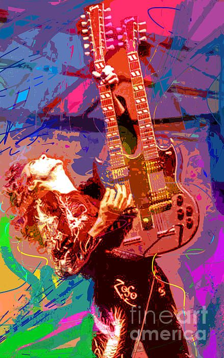 Pop art portrait of Led Zeppelin's Jimmy Page by David Lloyd Glover