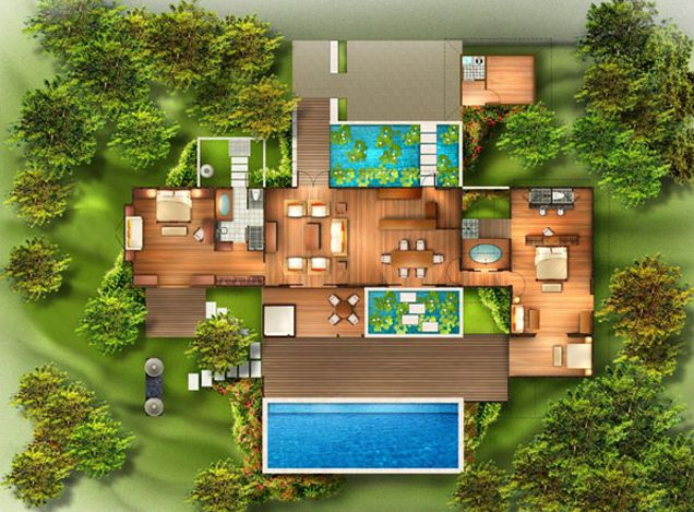 From bali with love tropical house plans from bali with for Villa architecture design plans