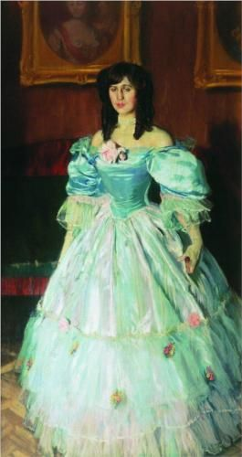 Portrait of a Woman in Blue (Portrait P. Sudkovskaya) - Boris Kustodiev
