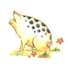 "6 Spotted Pig Animal 1 1/4"" Watrslide Ceramic Decals"