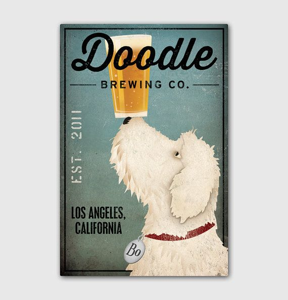 FREE CUSTOMIZATION Goldendoodle Labradoodle Brewing Company Beer Sign 16x24x1.5 Gallery Wrapped Canvas Wall Art -  Ready-to-Hang