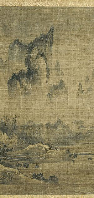 Landscapes in the Style of An Gyeon: Evening Bell from Mist-Shrouded Temple and Autumn Moon over Lake Dongting and Autumn Moon over Lake Dongting, Joseon dynasty (1392–1910) Unidentified artist (15th century) Korea; Pair of hanging scrolls, ink on silk;In the early Joseon period, from the founding of the dynasty in 1392 to about 1550, landscape painting flourished and developed in a new direction.