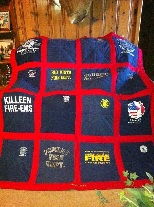 Quilt out of boyfirend's Fire Dept. shirts