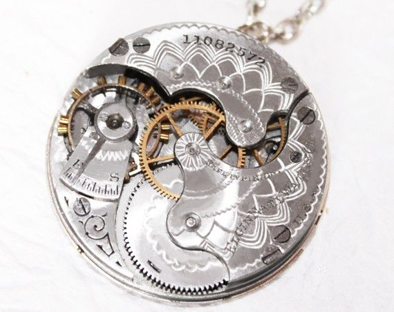 Steampunk Necklace - Captivating 90+ yrs old GUILLOCHE ETCHED ELGIN Antique Pocket Watch Movement Silver Men Steampunk Necklace Wedding Gift by TimeInFantasy on Etsy https://www.etsy.com/listing/72720589/steampunk-necklace-captivating-90-yrs
