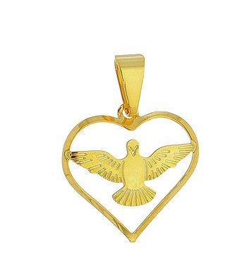 Pingente do Divino Espírito Santo folheado a ouro em forma de coração