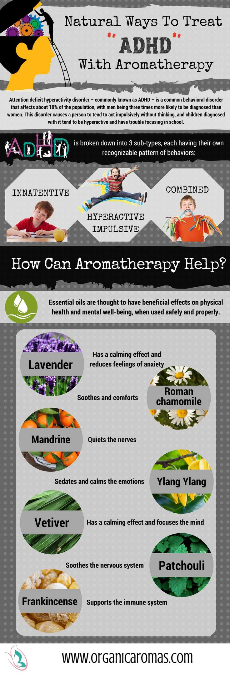 Natural Ways To Treat ADHD Using Aromatherapy - #OrganicAromas #InfoGraphic
