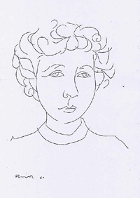 Ilse Losa- desenho de Júlio Pomar, 1950 in http://www.phg-hh.de/PP_PDF/Portugal_Post/PP33/s_pp33_losaP.html