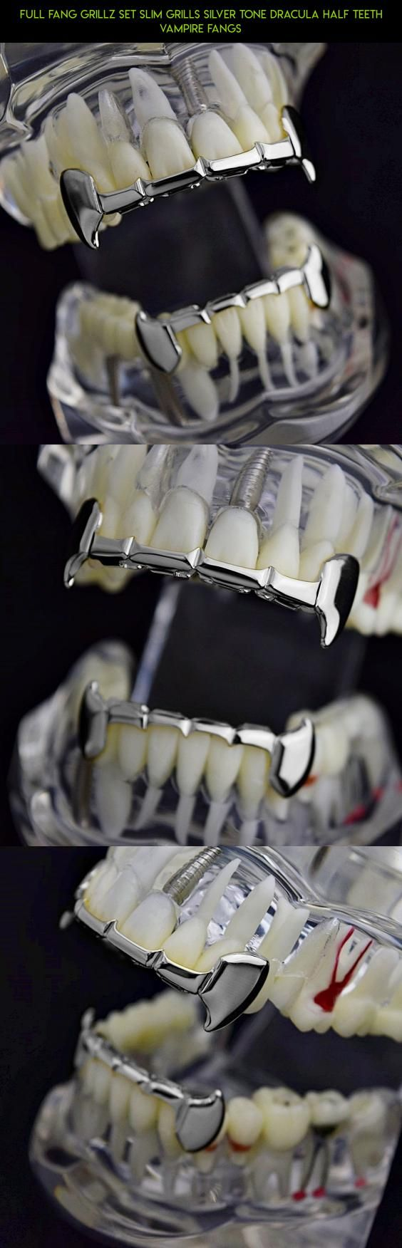 Full Fang Grillz Set Slim Grills Silver Tone Dracula Half Teeth Vampire Fangs #racing #gadgets #tech #drone #shopping #parts #products #vampire #fpv #plans #camera #kit #technology #grills
