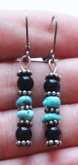 Vintage Sterling Silver Black Onyx & Turquoise Dangle by paststore