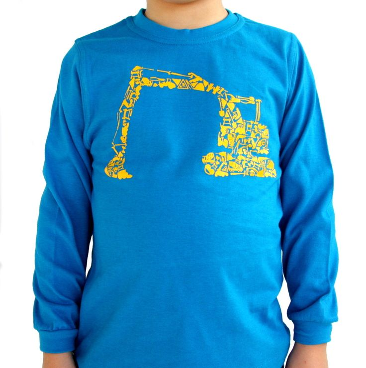 Mini Mayhem Digger Tee - $29.95 - What little man doesn't love a digger? AND what could be better than one made up of lots of little diggers, trucks and other construction paraphernalia?   Gorgeous azure blue 100% cotton boys long sleeved Digger tee by Mini Mayhem - sure to keep your little boy warm and happy this winter!