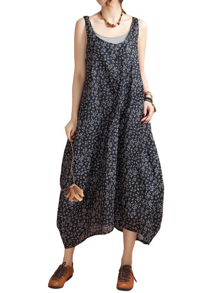 Hot-sale O-Newe Ethnic Style Strap Floral Printed Lantern Maxi Sundress For Women { - NewChic