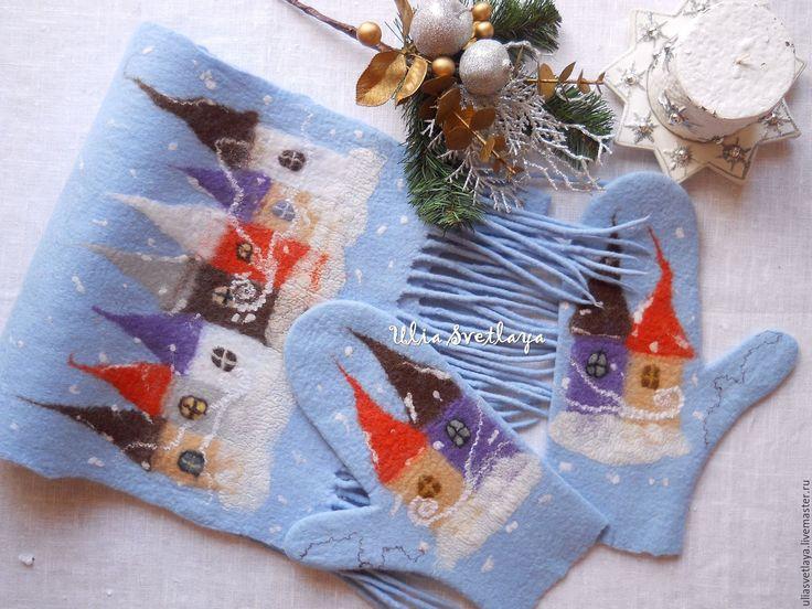 """Купить Шарф и варежки валяные """"Зимняя сказка"""" голубой комплект - варежки валяные, шарф валяный"""