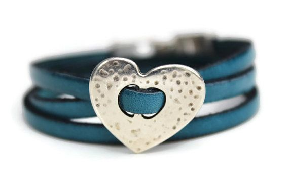 Ladies 5mm Blue Flat Leather Triple Wrap by PepperPotLeatherShop, $38.99